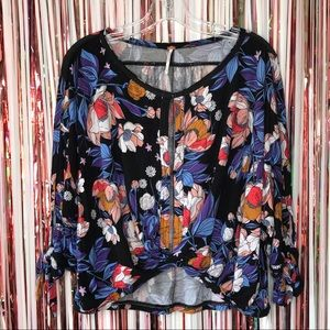 Free People floral Keepin On twist front top - S